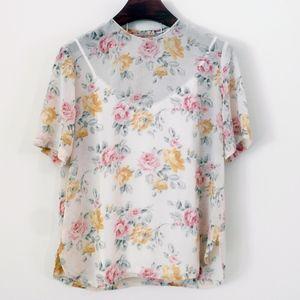 80s Vintage Floral Sheer Blouse